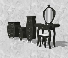 黑色收纳柜带梳妆台