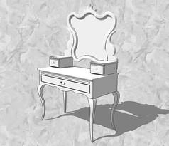 白色欧式梳妆台
