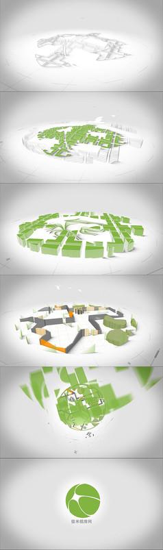 三维工程建筑立体动画logo标志片头