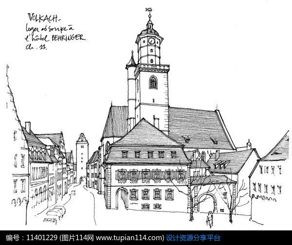 3d素材 方案意向 手绘素材 城镇街角建筑     素材编号:11401229 素材