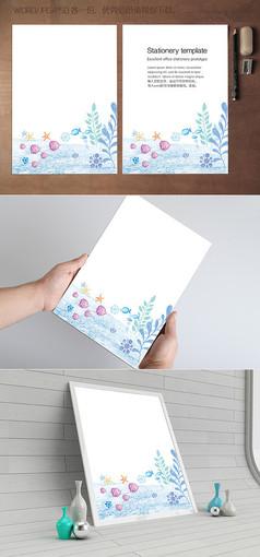 蓝色海洋海鱼信纸