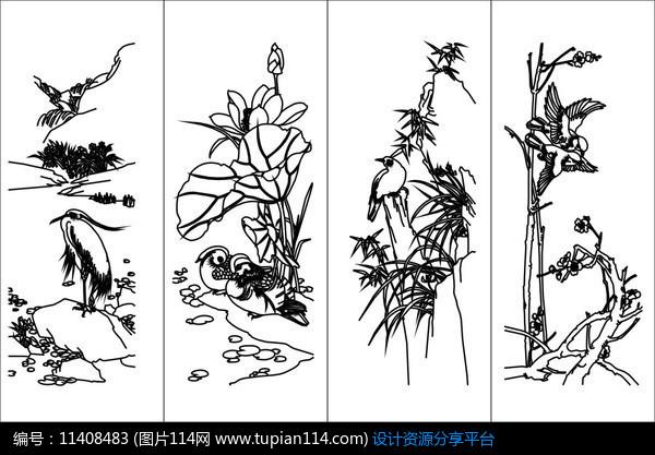[原创] 荷花仙鹤雕刻图案