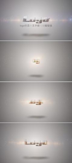 金属质感扫光logo标志演绎ae模板