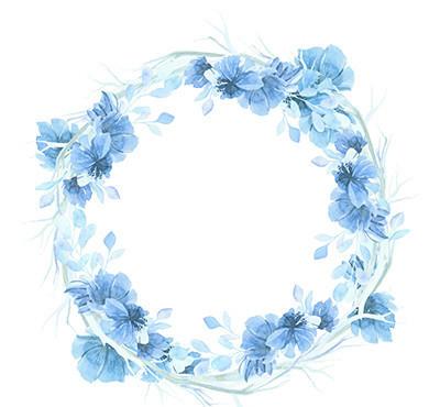 矢量图库 矢量广告设计稿 其他模板 蓝色水彩花卉花环素材     素材