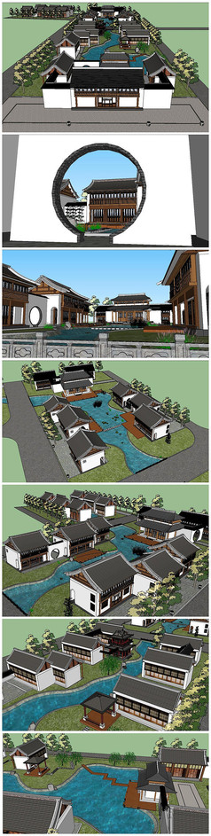 新中式古典村落SU模型