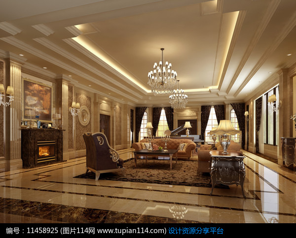 [原创] 别墅欧式客厅3d模型