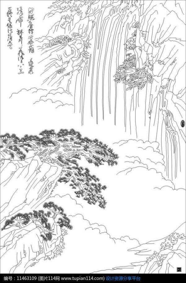 [原创] 山水画雕刻图案