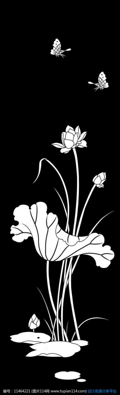 荷花蝴蝶雕刻图案设计素材免费下载_雕刻图案cdr_图片