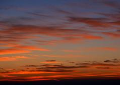 红色晚霞天空景观