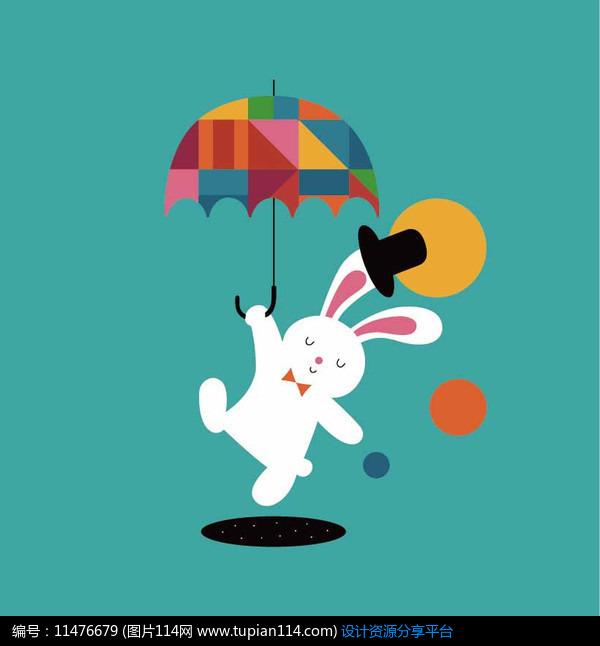 [原创] 可爱卡通小动物举伞小兔矢量插画