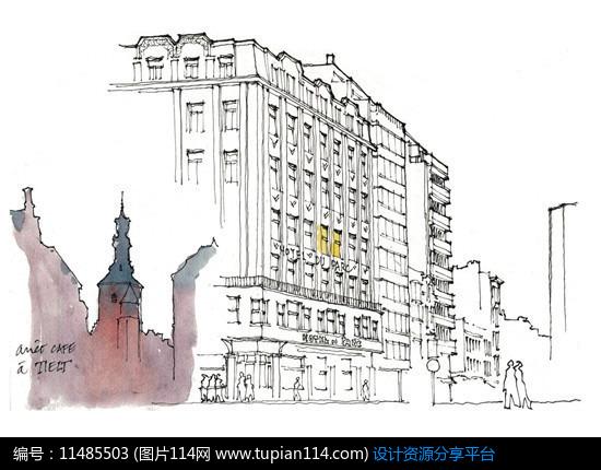 3d素材 方案意向 手绘素材 现代街景城镇     素材编号:11485503 素材
