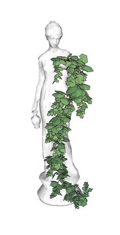 挂在人形雕塑上的藤蔓植物SU
