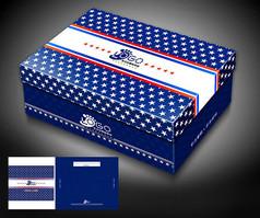 蓝色儿童鞋盒包装设计模板