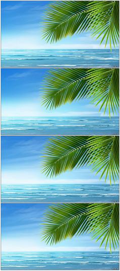 清新清晨沙滩美景动画视频素材