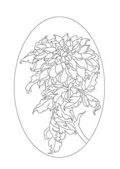 椭圆牡丹雕刻纹样