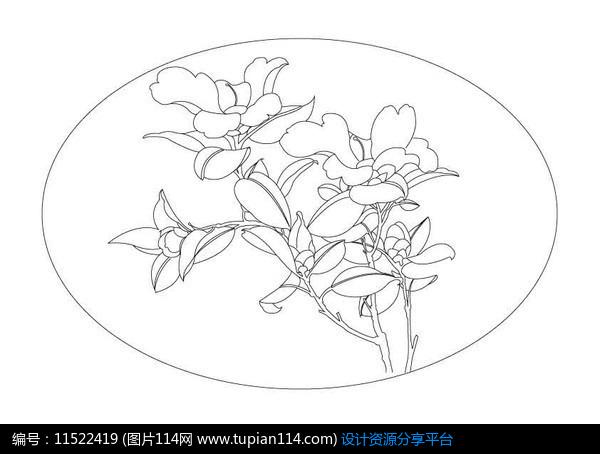 椭圆形山茶花雕刻纹样设计素材免费下载_雕刻图案ai图片