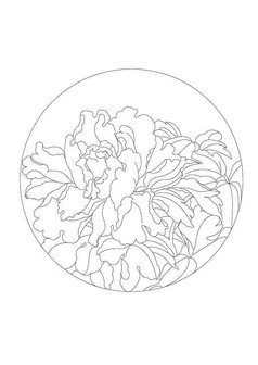 圆形牡丹雕刻纹样