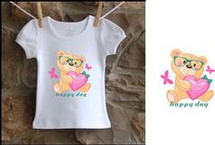 T恤印花可爱矢量小熊烫画