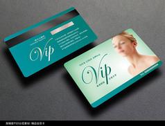 蓝色清新美容会员卡PSD模板