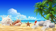 蓝天白云沙滩贝壳