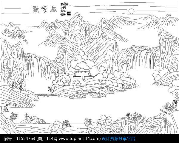 [原创] 山水画风景雕刻图案