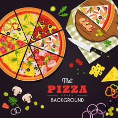 手绘披萨必胜客餐饮元素海报设计