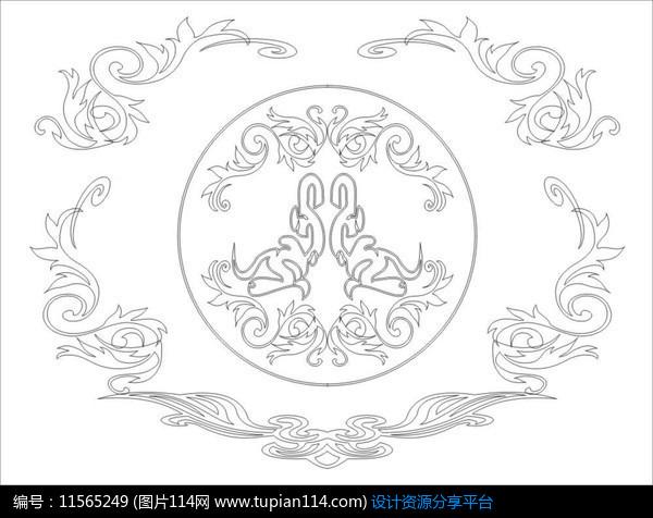 对称花纹雕刻图案设计素材免费下载_雕刻图案cdr_图片