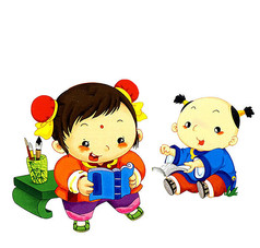 正在看书的两个小孩卡通人物