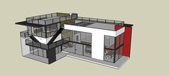 现代集装箱高档别墅模型