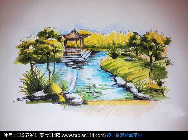 相關素材 古典園林水景景亭景觀設計植物設計效果圖手繪透視圖