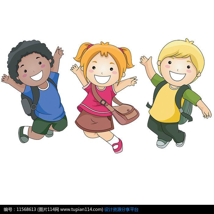 跳起来的外国小学生,卡通人物图片,动漫人物图片,漫画图片