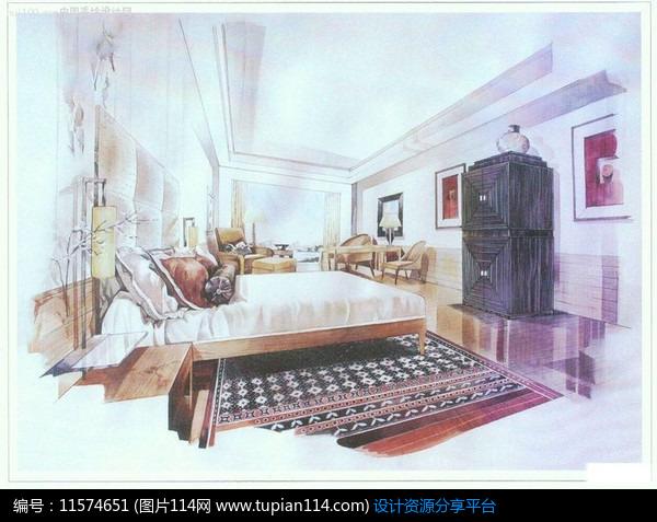 简约风格卧室手绘效果图