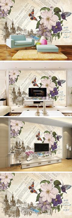 复古怀旧报纸花朵蝴蝶背景墙