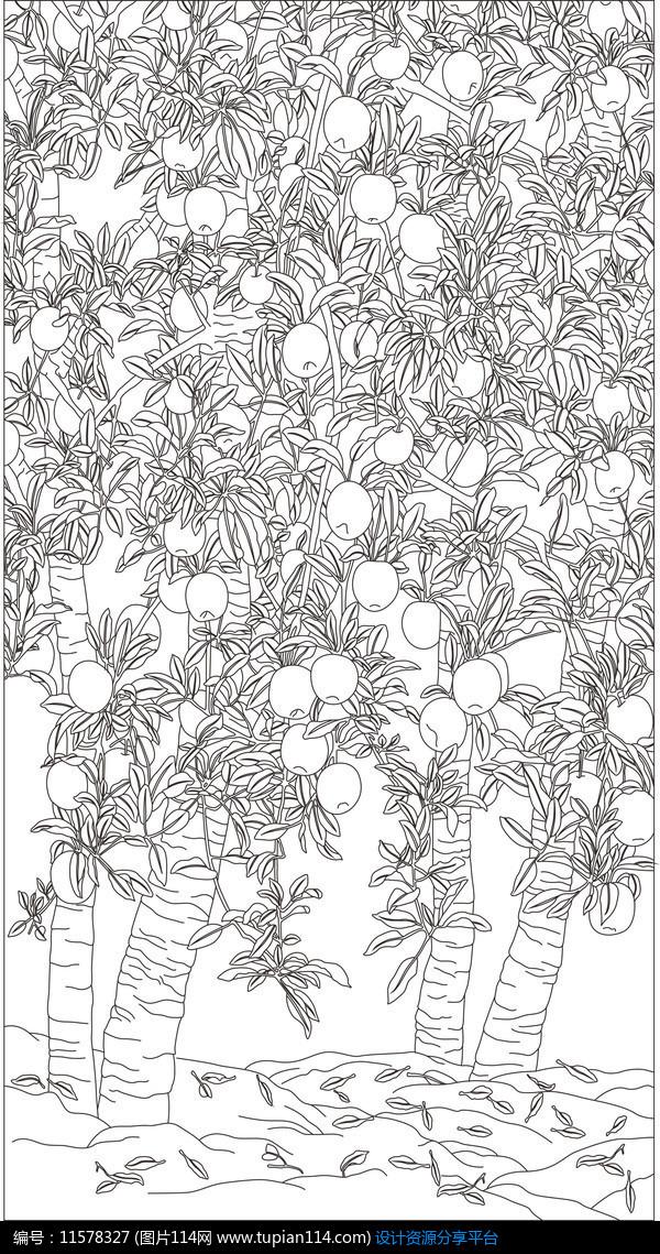 金钱树林雕刻图案设计素材免费下载_雕刻图案cdr_图片