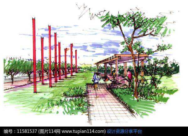 3d素材 方案意向 手绘素材 公园廊架景观效果     素材编号:11581537
