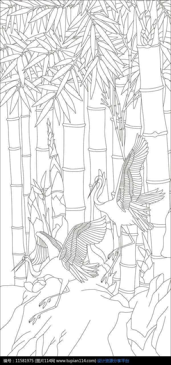 [原创] 仙鹤竹子雕刻图案