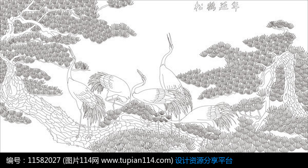 [原创] 松鹤延年雕刻图案