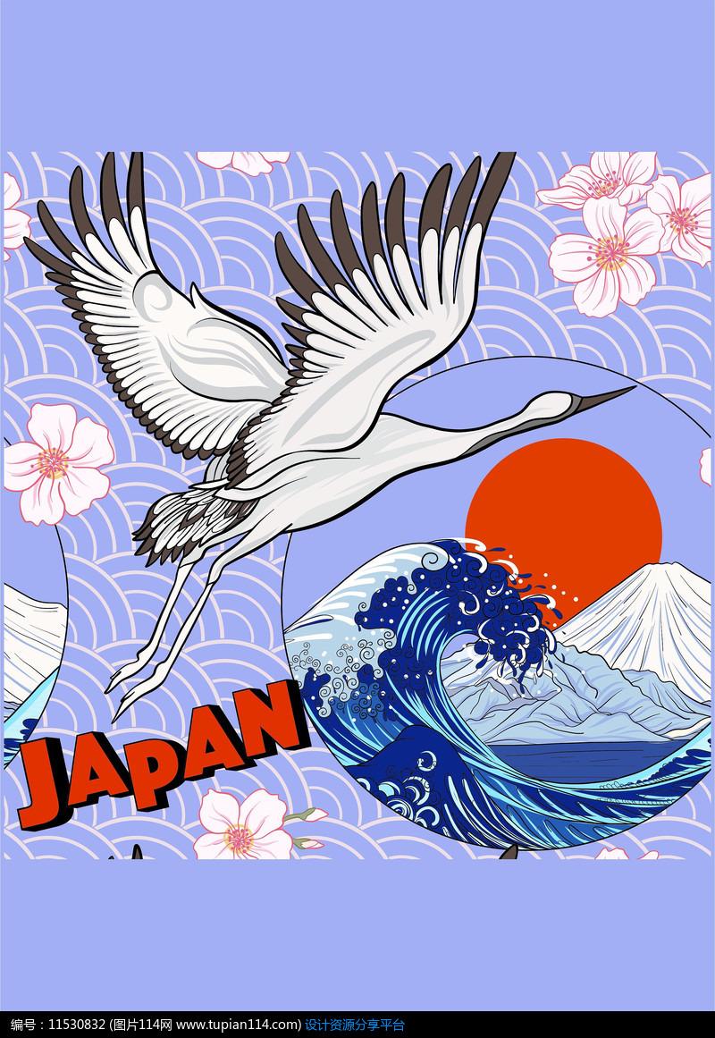 日系仙鹤动物矢量图案
