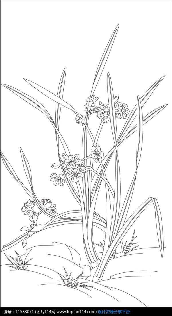 兰花雕刻图案设计素材免费下载_雕刻图案cdr_图片114
