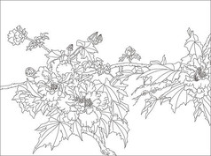 芙蓉鲜花玻璃雕刻图案