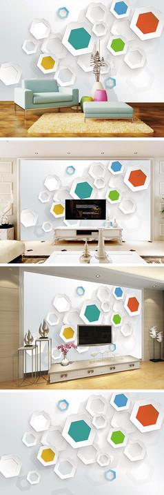 3D立体六边形背景墙