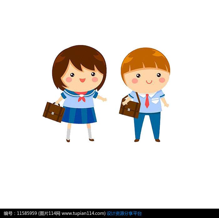 穿校服小学的蓝色小学生团结湖两个图片