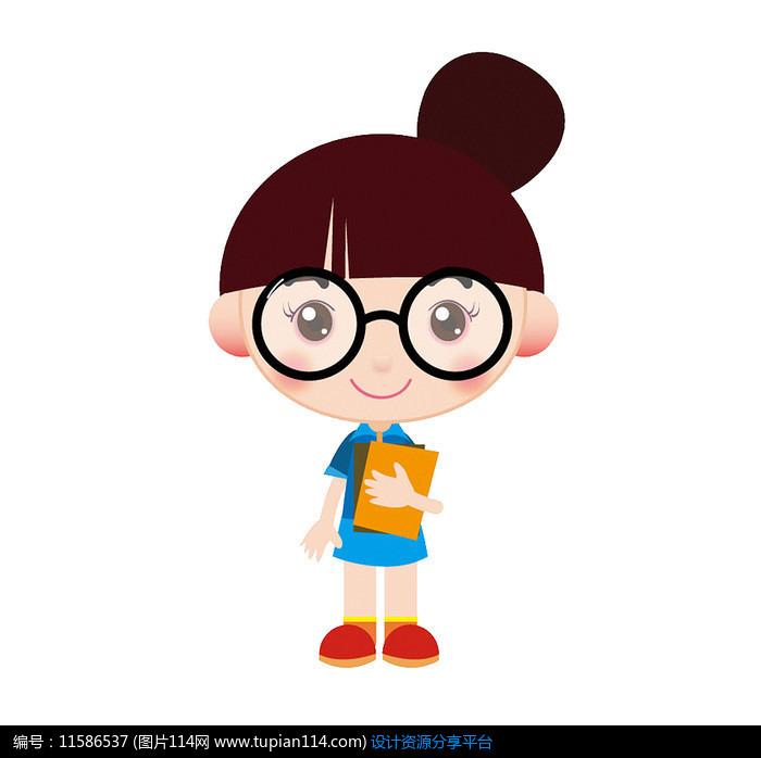 戴眼镜的小女孩