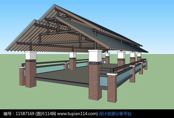 [原创] 现代中式坡屋顶廊架模型图片