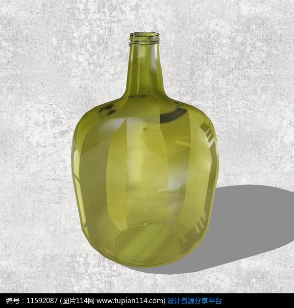 芥末绿玻璃花瓶,3d室内模型免费下载,3dmax室内设计