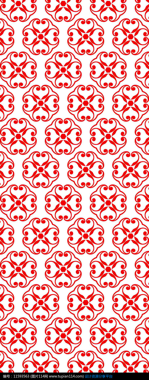 红色花朵装饰图案设计素材免费下载_雕刻图案cdr_图片