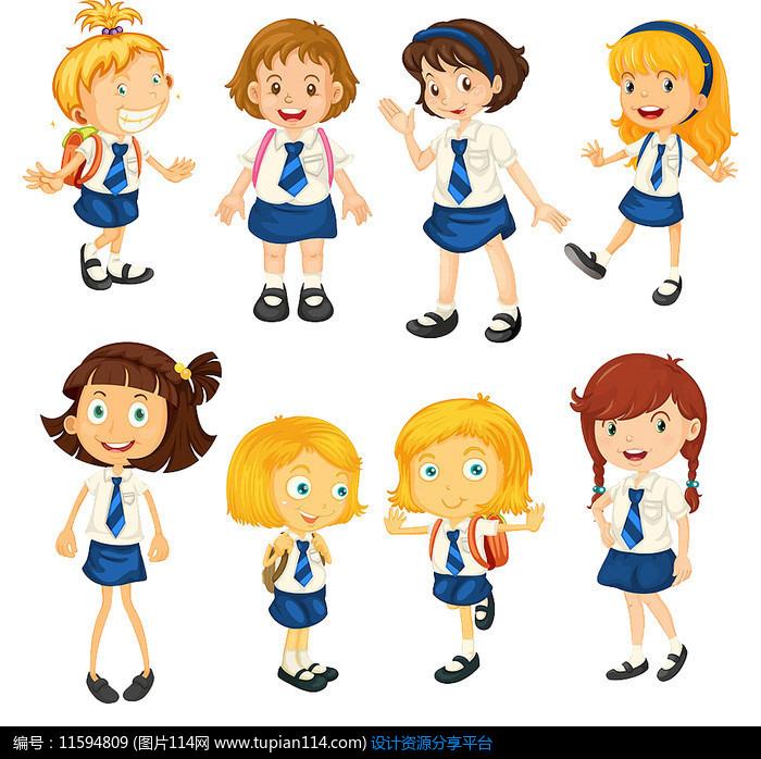 穿着校服的小学生,卡通人物图片,动漫人物图片,漫画图片