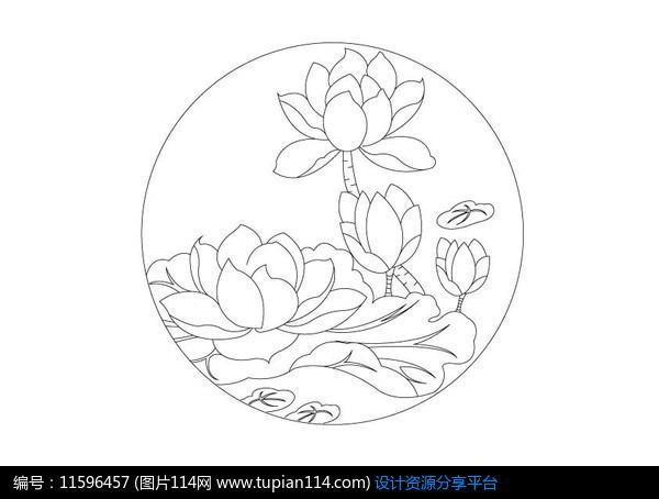 莲花荷叶圆形雕刻纹样设计素材免费下载_雕刻图案ai