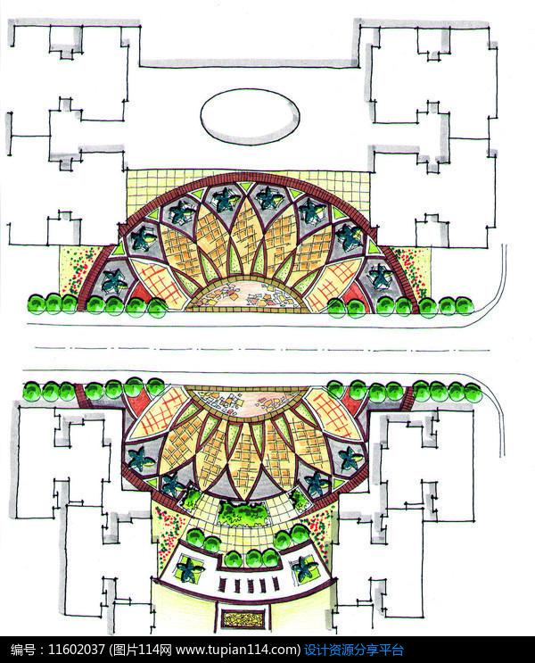 [原创] 住宅区圆形广场景观设计平面图