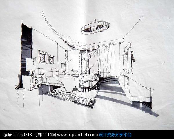 [原创] 卧室设计手绘透视图